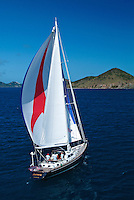 Aerial view of a sailing yacht<br /> U. S. Virgin Islands