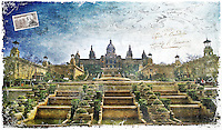 Palau Nacional, Barcelona, Spain - Forgotten Postcard, digital art collage