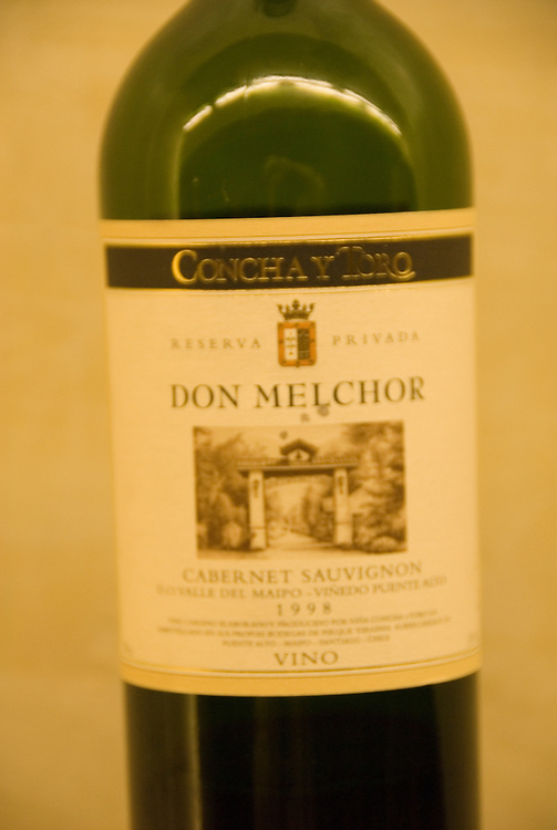 Chile Wine Country: Bottle of Don Melchor wine at Concha Y Toro Winery, Vina Concha y Toro, near Santiago..Photo #: ch483-32937..Photo copyright Lee Foster, 510-549-2202, www.fostertravel.com, lee@fostertravel.com.