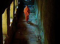Buddhist Monks In the ancient temples of the Angkor Wat area, Cambodia