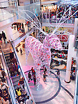 Toronto Eaton Centre shopping mall winter holiday season Christmas decoration of a giant deer in 2012. Toronto, Ontario, Canada.
