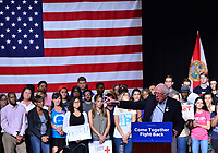 MIAMI, FL - APRIL 19: Senator Bernie Sanders (I-VT) speaks during a 'Come Together and Fight Back' tour at the James L Knight Center on April 19, 2017 in Miami, Florida. Sen. Sanders and DNC Chair Tom Perez spoke about raising the minimum wage, pay equity for women, making public colleges and universities tuition-free, comprehensive immigration reform and tax reform which demands that the wealthy and large corporations start paying their fair share of taxes.  <br /> CAP/MPI10<br /> &copy;MPI10/Capital Pictures