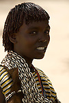 Themay Woman, Themay Tribe Village, Omo Valley, Ethiopia, portrait, person, one, tribes, tribal, indigenous, peoples, Southern, ethnic, rural, local, traditional, culture, primitive,.Africa....