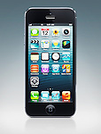 Apple iPhone 5 black smartphone with desktop icons on its display isolated on blue background with clipping path