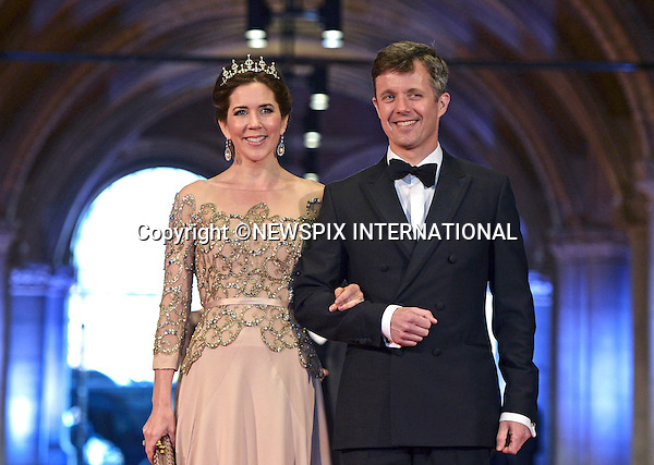 """CROWN PRINCE FREDERIK AND CROWN PRINCESS MARY OF DENMARK.attend the gala farewell dinner for Queen Beatrix.at the Rijksmuseum in Amsterdam, The Netherlands_April 29, 2013..Crwon Prince Willem-Alexander and Crown Princess Maxima will be proclaimed King and Queen  of The Netherlands on the abdication of Queen Beatrix on 30th April 2013..Mandatory Credit Photos: ©Utrecht/NEWSPIX INTERNATIONAL..**ALL FEES PAYABLE TO: """"NEWSPIX INTERNATIONAL""""**..PHOTO CREDIT MANDATORY!!: NEWSPIX INTERNATIONAL(Failure to credit will incur a surcharge of 100% of reproduction fees)..IMMEDIATE CONFIRMATION OF USAGE REQUIRED:.Newspix International, 31 Chinnery Hill, Bishop's Stortford, ENGLAND CM23 3PS.Tel:+441279 324672  ; Fax: +441279656877.Mobile:  0777568 1153.e-mail: info@newspixinternational.co.uk"""