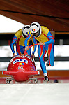 19 November 2005: Nicolae Istrate pilots the Romania 1 sled to a 29th place finish at the 2005 FIBT AIT World Cup Men's 2-Man Bobsleigh Tour at the Verizon Sports Complex, in Lake Placid, NY. Mandatory Photo Credit: Ed Wolfstein.