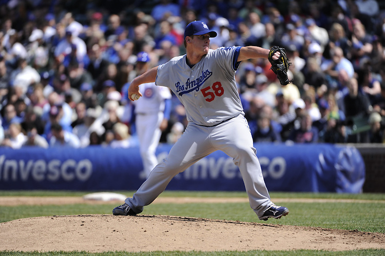 CHICAGO - MAY  04:  Chad Billingsley #58 of the Los Angeles Dodgers pitches against the Chicago Cubs on May 4, 2012 at Wrigley Field in Chicago, Illinois.  The Cubs defeated the Dodgers 5-4.  (Photo by Ron Vesely)   Subject:  Chad Billingsley