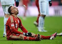 FUSSBALL   1. BUNDESLIGA  SAISON 2012/2013   21. Spieltag  FC Bayern Muenchen - FC Schalke 04                     09.02.2013 Franck Ribery (FC Bayern Muenchen) spuckt  aus
