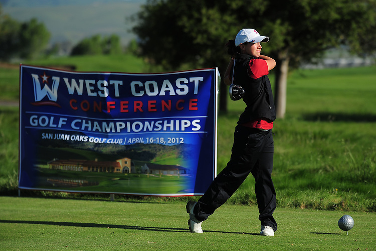 April 17, 2012; Hollister, CA, USA; Santa Clara Broncos golfer Kaci McCartan during the WCC Golf Championships at San Juan Oaks Golf Club.
