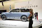 Pale blue LIncoln Navigator Concept SUV is on display at the New York International Auto Show 2016, at the Jacob Javits Center. This was Press Preview Day one of NYIAS, and the car Trade Show will be open to the public for ten days, March 25th through April 3rd.