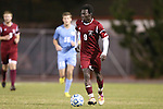 25 November 2012: FDU's Godfred Baafi. The University of North Carolina Tar Heels played the Farleigh Dickinson Knights at Fetzer Field in Chapel Hill, North Carolina in a 2012 NCAA Division I Men's Soccer Tournament third round game. UNC won the game 1-0 in overtime.