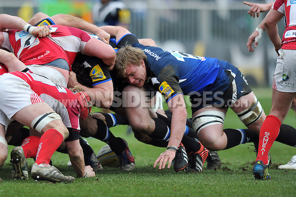 Will Skuse in action at a scrum. Aviva Premiership match, between Bath Rugby and London Welsh on March 30, 2013 at the Recreation Ground in Bath, England. Photo by: Patrick Khachfe / Onside Images