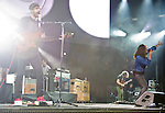 Incubus bassist Ben Kenney and lead singer Brandon Boyd perform during the band's set at the KROQ Weenie Roast y Fiesta at Verizon Wireless Amphitheater Saturday.