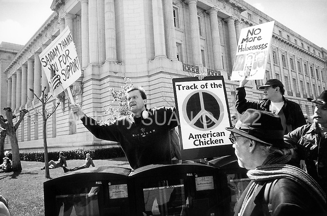 San Francisco, California.USA.March 15, 2003..Pro-Iraq war demonstrators face off against anti-Iraq war demonstration in San Francisco.