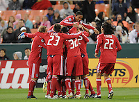 The Chicago Fire celebrates the second goal by Brian McBride in the 89th minute of the game. The Chicago Fire defeated DC United 2-0 at RFK Stadium, Saturday April 17, 2010.