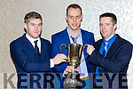 AJ O'Connor, Tomas Dennehy and Patrick O'Connor the All Ireland inter firm cup they won with Liebherr at the Kiskeam GAA social in the Killarney Oaks Hotel on Saturday night