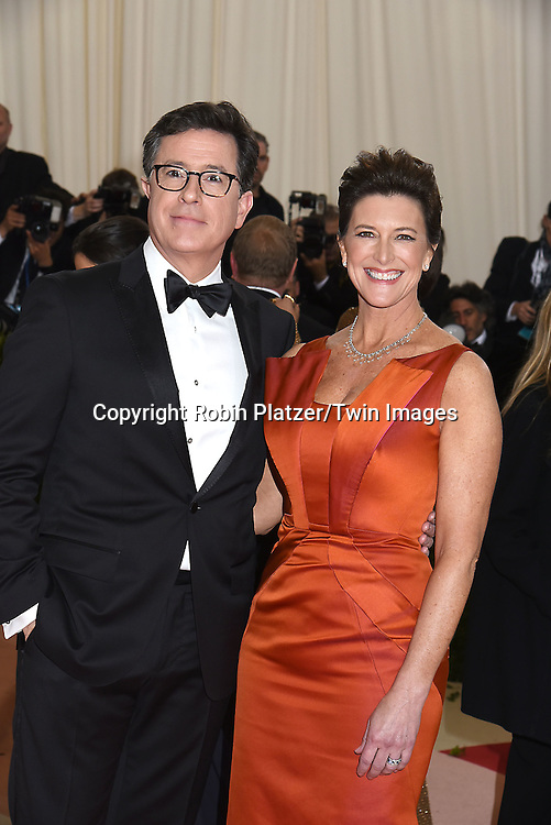 Steven Colbert and wife attends the Metropolitan Museum of Art Costume Institute Benefit Gala on May 2, 2016 in New York, New York, USA. The show is Manus x Machina: Fashion in an Age of Technology. <br /> <br /> photo by Robin Platzer/Twin Images<br />  <br /> phone number 212-935-0770