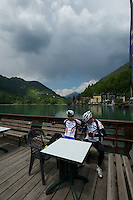 Calling it a day at the dock in front of Sport Hotel Alleghe--near the finish of stage 15.