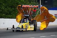 May 5, 2012; Commerce, GA, USA: NHRA top fuel dragster driver Spencer Massey during qualifying for the Southern Nationals at Atlanta Dragway. Mandatory Credit: Mark J. Rebilas-