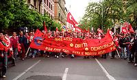 Roma Maggio 2004.Manifestazione degli operai della Fiat di Melfi..Demonstration of workers at Fiat Melfi .The banners: salary, rights, democracy,