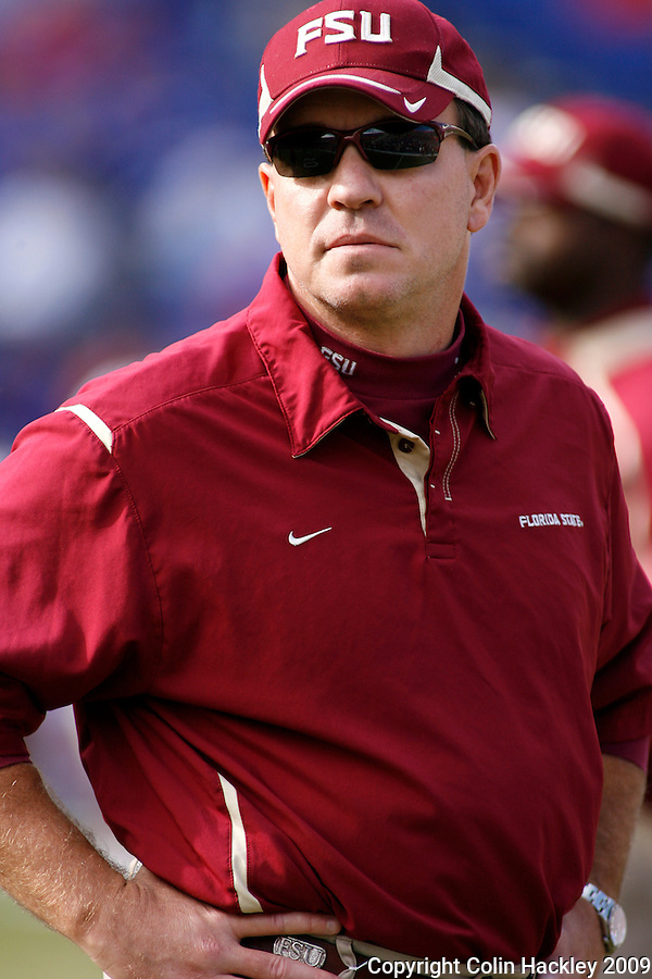 GAINESVILLE, FL 11/28/09-FSU-UF FB09 CH64-Florida State Offensive Coordinator Jimbo Fisher watches the Seminoles warm up prior the Florida game Saturday at Florida Field in Gainesville. .COLIN HACKLEY PHOTO