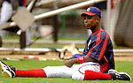 14 June 2006: Alfonso Soriano, left fielder for the Washington Nationals, stretches prior to a game against the Colorado Rockies in Washington, DC. The Rockies defeated the Nationals 14-8 in front of 24,273 fans at RFK Stadium...Mandatory Photo Credit: Ed Wolfstein Photo...