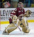 "19 January 2007: Boston College goaltender Joe Pearce from Brick, NJ, warms up prior to a Hockey East division matchup against the University of Vermont at Gutterson Fieldhouse in Burlington, Vermont. The UVM Catamounts defeated the BC Eagles 3-2 before a record setting 50th consecutive sellout at ""the Gut""...Mandatory Photo Credit: Ed Wolfstein Photo."