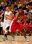 26 January 2010: University of Hartford Hawks' forward Erica Beverly, a Senior from Bridgeport, CT, grabs a rebound against the University of Vermont Catamounts at Patrick Gymnasium in Burlington, Vermont. The Hawks defeated the Lady Cats 38-36 in a closely matched America East contest. Mandatory Credit: Ed Wolfstein Photo