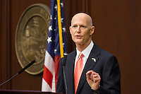 TALLAHASSEE, FLA. 3/3/15-Gov. Rick Scott, delivers the State of the State address during the opening day of the 2015 Legislative Session Tuesday at the Capitol in Tallahassee.<br /> <br /> COLIN HACKLEY PHOTO