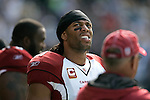 Arizona Cardinals wide receiver Larry Fitzgerald watches a replay on the big screen at CenturyLink Field in Seattle, Washington September 25, 2011.  The Seahawks beat the Cardinals 13-10.  ©2011 Jim Bryant Photo. All Rights Reserved.