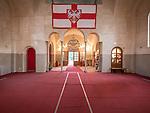 Entrance and Byzantine-style flag, Church of St. Simeon the Myrrh-Gushing, Novi Beograd, Serbia