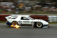 MIAMI, FL - APRIL 6: Pete Halsmer drives the Mazda Motorsports Mazda RX-7 en route to victory in the IMSA GTO/GTU/AAC race on the temporary street circuit in Bicentennial Park in Miami, Florida, on April 6, 1991.