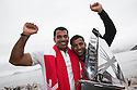 The Wave Muscat bowman Hashim Al Rashdi (OMA) and Oman Air bowman Nasser Al Mashari celebrate after 1st and 2nd in the 2012 Extreme Sailing Series.Credit: Lloyd Images.