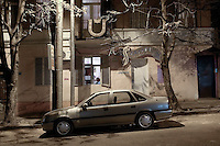 A car parked in the street in Tbilisi....