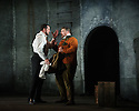 "English Touring Opera presents ""Don Giovanni"", by Wolfgang Amadeus Mozart, at the Hackney Empire.  Directed by Lloyd Wood, with set & costume design by Anna Fleischle and lighting design by Guy Hoare. Picture shows:  George von Bergen (Don Giovanni), Matthew Stiff (Leporello)."