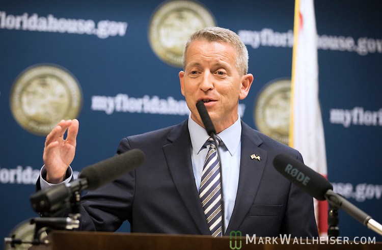 Rep. Paul Renner speaks during a press conference on military-friendly legislation at the Florida Capitol.