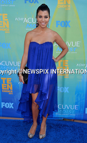 """KOURTNEY KARDASHIAN.attends the Teen Choice 2011 at the Gibson Amphitheatre, Universal City, California_07/08/2011.Mandatory Photo Credit: ©Crosby/Newspix International. .**ALL FEES PAYABLE TO: """"NEWSPIX INTERNATIONAL""""**..PHOTO CREDIT MANDATORY!!: NEWSPIX INTERNATIONAL(Failure to credit will incur a surcharge of 100% of reproduction fees).IMMEDIATE CONFIRMATION OF USAGE REQUIRED:.Newspix International, 31 Chinnery Hill, Bishop's Stortford, ENGLAND CM23 3PS.Tel:+441279 324672  ; Fax: +441279656877.Mobile:  0777568 1153.e-mail: info@newspixinternational.co.uk"""