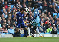 Leicester City's Shinji Okazaki and Manchester City's Yaya Toure <br /> <br /> Photographer Stephen White/CameraSport<br /> <br /> The Premier League - Manchester City v Leicester City - Saturday 13th May 2017 - Etihad Stadium - Manchester<br /> <br /> World Copyright &copy; 2017 CameraSport. All rights reserved. 43 Linden Ave. Countesthorpe. Leicester. England. LE8 5PG - Tel: +44 (0) 116 277 4147 - admin@camerasport.com - www.camerasport.com