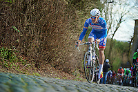 Jempy Drucker (LUX) over the cobbles of the Kruisberg<br /> <br /> Kuurne-Brussel-Kuurne 2014