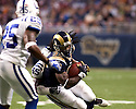 October 25, 2009 - St Louis, Missouri, USA - Rams running back Steven Jackson (39) is tackled by Colts linebacker Clint Session (55) in the game between the St Louis Rams and the Indianapolis Colts at the Edward Jones Dome.  The Colts defeated the Rams 42 to 6.