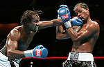 Light Heavyweights Eric Harding (l) and Daniel Judah (r) trade punches during their 12 round NABF Light Heavyweight title fight at the Mohegan Sun Arena in Uncasville, CT.  Harding won the title via 12 round unanimous decision.
