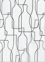 Bottles, a glass waterjet mosaic shown in Moonstone, is part of the Erin Adams Collection for New Ravenna Mosaics.<br />