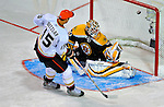 24 January 2009: Boston Bruins goaltender Tim Thomas gives up a goal to Anaheim Ducks center Ryan Getzlaf in the first round of the Elimination Shootout of the NHL SuperSkills Competition, during the All-Star Weekend at the Bell Centre in Montreal, Quebec, Canada. ***** Editorial Sales Only ***** Mandatory Photo Credit: Ed Wolfstein Photo