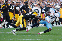 PITTSBURGH, PA - OCTOBER 09:  Lavelle Hawkins #87 of the Tennessee Titans is tackled by Keenan Lewis #23 of the Pittsburgh Steelers after catching a pass during the game on October 9, 2011 at Heinz Field in Pittsburgh, Pennsylvania.  (Photo by Jared Wickerham/Getty Images)