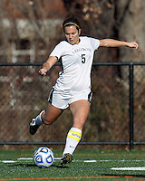 College of St Rose forward Carmelina Puopolo (5) takes a shot.. In 2012 NCAA Division II Women's Soccer Championship Tournament First Round, College of St Rose (white) defeated Wilmington University (black), 3-0, on Ronald J. Abdow Field at American International College on November 9, 2012.