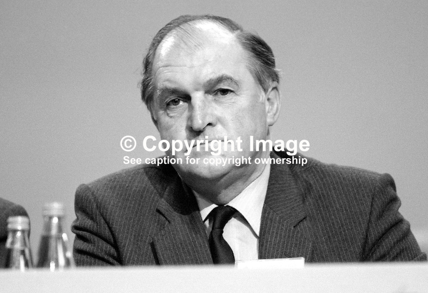 Sir Henry Plumb, MEP, Conservative Party, UK, platform, annual conference, Brighton. 19840172HP1.<br /> <br /> Copyright Image from Victor Patterson, 54 Dorchester Park, Belfast, UK, BT9 6RJ<br /> <br /> t1: +44 28 9066 1296 (from Rep of Ireland 048 9066 1296)<br /> t2: +44 28 9002 2446 (from Rep of Ireland 048 9002 2446)<br /> m: +44 7802 353836<br /> <br /> e1: victorpatterson@me.com<br /> e2: victorpatterson@gmail.com<br /> <br /> The use of my copyright images is subject to my Terms &amp; Conditions.<br /> <br /> It is IMPORTANT that you familiarise yourself with them. They are available on my website at www.victorpatterson.com.<br /> <br /> None of my copyright images may be used on a website unless they are visibly watermarked, i.e. &copy; Victor Patterson within the body of the visible image. Metadata denoting my copyright must NOT be deleted. <br /> <br /> Web use is extra at currently recommended NUJ rates.