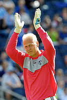 Sporting KC goalkeeper Jimmy Nielsen acknowledges the crowd at the start of the second half...Sporting Kansas City defeated New York Red Bulls 2-0 at LIVESTRONG Sporting Park, Kansas City, Kansas.