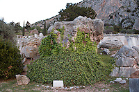 DELPHI, GREECE - APRIL 12 : A general view of the Sibyl's Rock, on April 12, 2007 in the Sanctuary of Apollo, Delphi, Greece. According to belief, the age-old prophetess would have stood upon it when she came to Delphi and pronounced an oracle for first time. (Photo by Manuel Cohen)