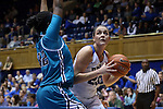 31 December 2015: Duke's Rebecca Greenwell (23) and UNCW's Rebekah Banks (32). The Duke University Blue Devils hosted the University of North Carolina Wilmington Seahawks at Cameron Indoor Stadium in Durham, North Carolina in a 2015-16 NCAA Division I Women's Basketball game. Duke won the game 78-56.