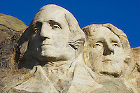 Close up view of George Washington and Thomas Jefferson at Mount Rushmore National Memorial.